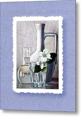 Jasmine Flowers Bouquet On Blue Canvas Metal Print