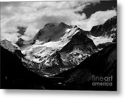 Jasper - Mt. Athabasca Monochrome Metal Print by Terry Elniski