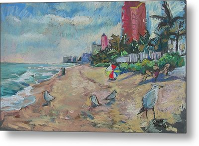 Jaunty Beach Birds Metal Print by Linda Novick