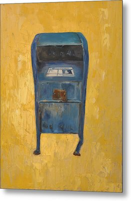 Metal Print featuring the painting Jaunty Mailbox by Lindsay Frost