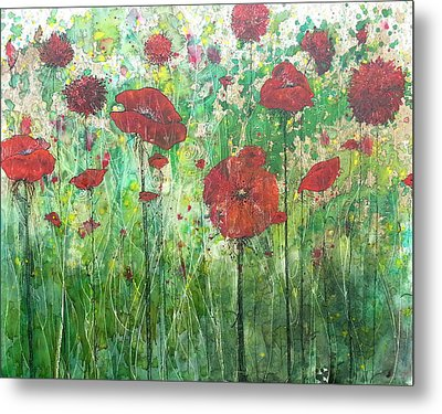 Metal Print featuring the painting Java Poppy Field by Christy  Freeman