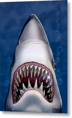 Jaws Great White Shark Art Metal Print by Walt Curlee