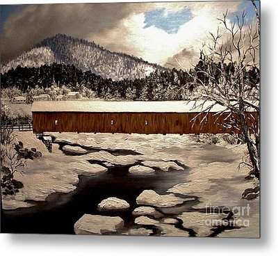 Jay Covered Bridge Metal Print by Peggy Miller