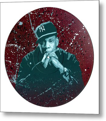 Jay-z Stencil Art On An Upcycled Vinyl Record Metal Print by Tim Kravel