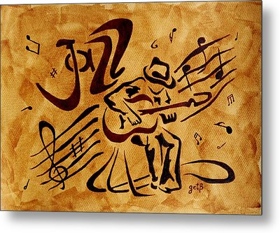 Jazz Abstract Coffee Painting Metal Print by Georgeta  Blanaru