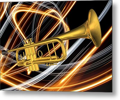 Jazz Art Trumpet Metal Print by Louis Ferreira