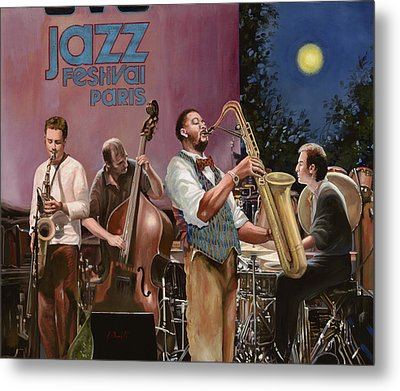 jazz festival in Paris Metal Print by Guido Borelli