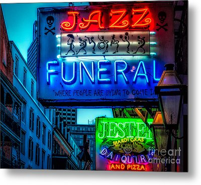 Jazz Funeral And Jester On Bourbon St. Metal Print