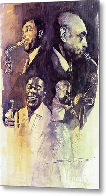 Jazz Legends Parker Gillespie Armstrong  Metal Print by Yuriy  Shevchuk