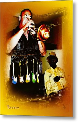 Jazz Trumpet And Drums Metal Print by Sadie Reneau