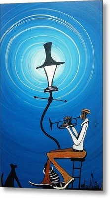 Jazz With My Dog Metal Print by Guilbeaux Gallery