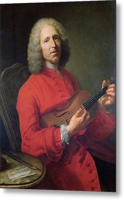 Jean-philippe Rameau 1683-1764 With A Violin Oil On Canvas Metal Print by Jacques Andre Joseph Camelot Aved