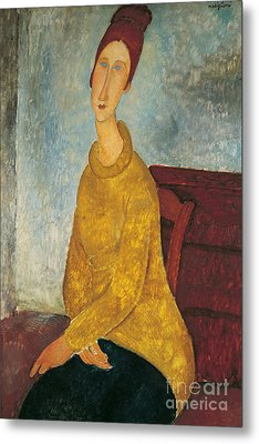 Jeanne Hebuterne In Yellow Sweater Metal Print by Amedeo Modigliani