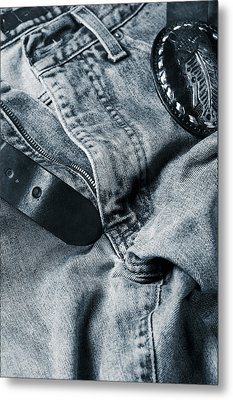 Jeans And Denim In Blue Metal Print by Christian Lagereek