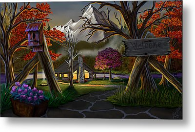 Jeans Cabin Welcome Metal Print by Brien Miller