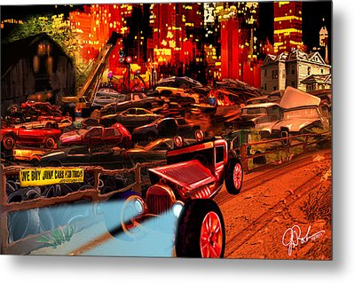 Jed Cooper Junk Yard Metal Print by Gerry Robins