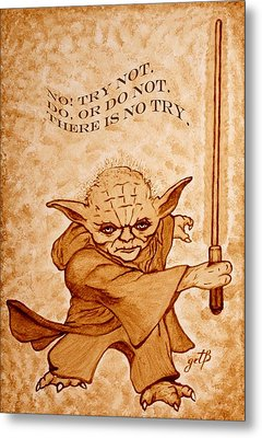 Metal Print featuring the painting Jedi Yoda Wisdom by Georgeta  Blanaru