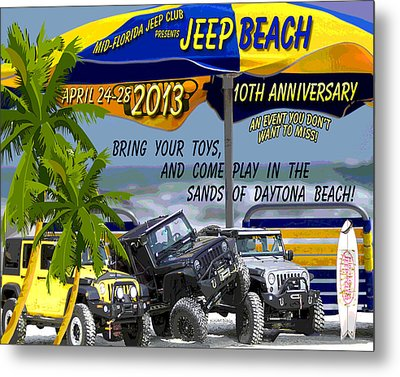 Metal Print featuring the photograph Jeep Beach 2013 Welcomes All Jeepers by DigiArt Diaries by Vicky B Fuller