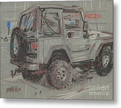 Metal Print featuring the painting Jeep With Pizza by Donald Maier