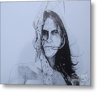 Metal Print featuring the drawing Jeff by Stuart Engel