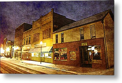 Jefferson Avenue On A Cold Winters Night Metal Print