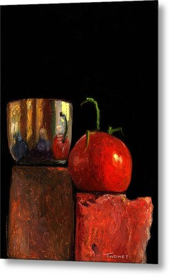 Jefferson Cup With Tomato And Sedona Bricks Metal Print by Catherine Twomey