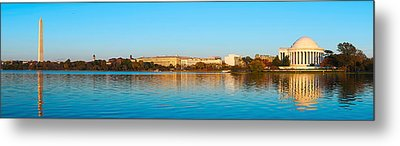 Jefferson Memorial And Washington Metal Print by Panoramic Images