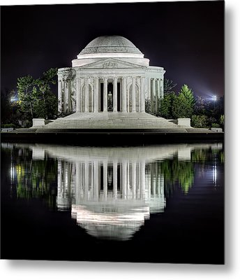 Jefferson Memorial - Night Reflection Metal Print