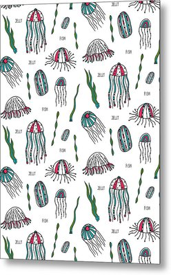 Jellyfish Repeat Print Metal Print by Susan Claire