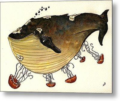 Jellyfish Tickling A Whale Metal Print by Juan  Bosco