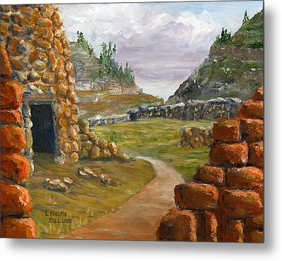 Metal Print featuring the painting Jemez Inspired Pathway Landscape by Lenora  De Lude