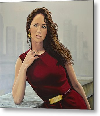 Jennifer Lawrence Painting Metal Print by Paul Meijering