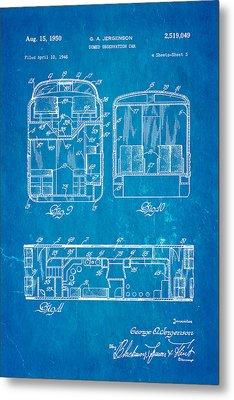 Jergenson Domed Observation Car Patent Art 1950 Blueprint Metal Print by Ian Monk