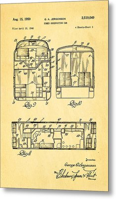 Jergenson Domed Observation Car Patent Art 1950 Metal Print by Ian Monk