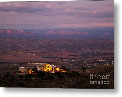 Jerome State Park With Red Rocks Of Sedona Arizona In Magic Light Metal Print by Ron Chilston