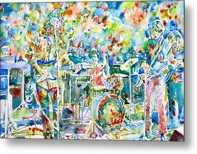 Jerry Garcia And The Grateful Dead Live Concert - Watercolor Portrait Metal Print