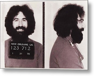 Jerry Garcia Mugshot Metal Print by Bill Cannon