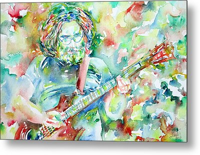 Jerry Garcia Playing The Guitar Watercolor Portrait.3 Metal Print by Fabrizio Cassetta