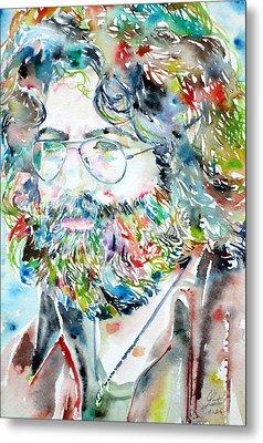 Jerry Garcia Watercolor Portrait.2 Metal Print by Fabrizio Cassetta