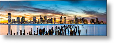 Jersey City Panorama At Sunset Metal Print by Mihai Andritoiu