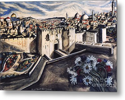 Jerusalem From The Damascus Gate Metal Print by Yael Avi-Yonah