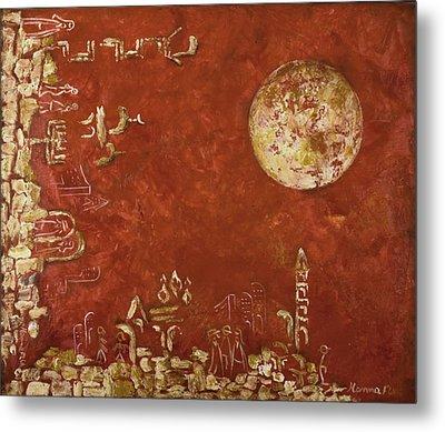 Jerusalem In Red Metal Print by Hanna Fluk