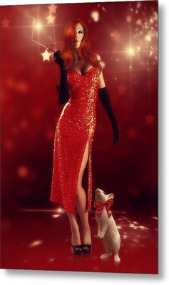 Jessica Rabbit Metal Print by Cindy Grundsten