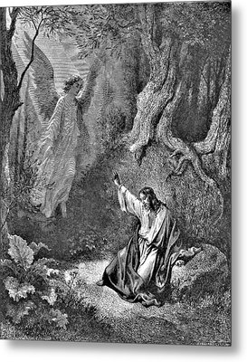Jesus And Angel Bible Illustration Metal Print by