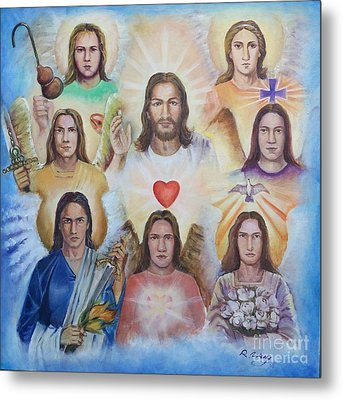 Metal Print featuring the painting Jesus And Angels Cm by Rose Wang