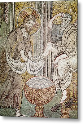 Jesus And Saint Peter, Detail From Jesus Washing The Feet Of The Apostle Mosaic Metal Print by Byzantine School