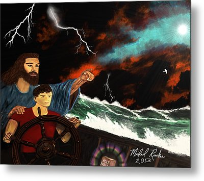 Metal Print featuring the painting Jesus And The Sailor by Michael Rucker