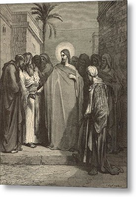 Jesus And The Tribute Money Metal Print by Antique Engravings