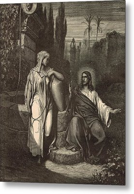 Jesus And The Woman Of Samaria Metal Print by Antique Engravings