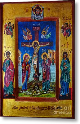 Jesus Christ Crucifixion Icon Metal Print by Ryszard Sleczka